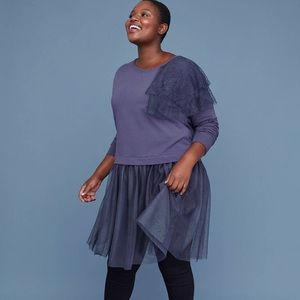 Lane Bryant Sweatshirt Tunic with tulle hem top